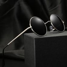 Polarized Sunglasses Eyewear Black-Lens Round Vintage Driver-Goggles Metal-Frame Classic