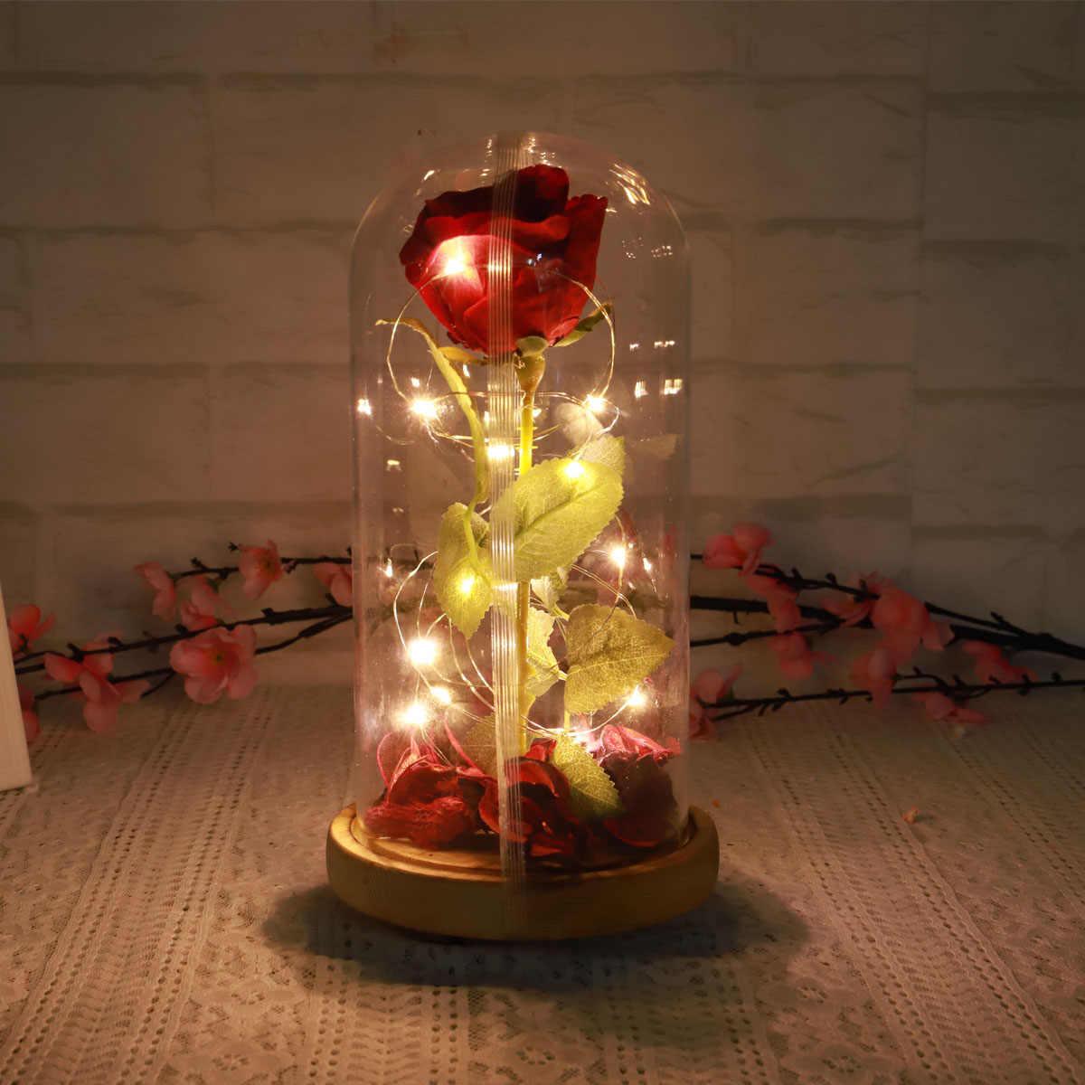 الأحمر/الأزرق/الأسود للأبد روز زهرة الخالد روز عيد الحب هدايا الجمال والوحش الأبدية الأحمر ارتفع في الزجاج مصباح ليد