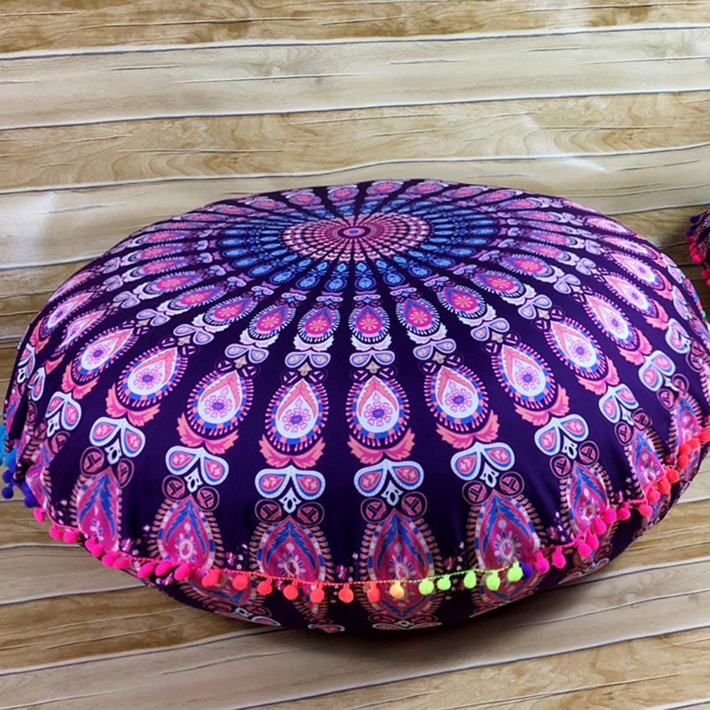 Round Shape Floral Printed Cover Case Blanket Table Cover-Up Indian Mandala Floor Pillows Round Cushion Yoga Mat Cover