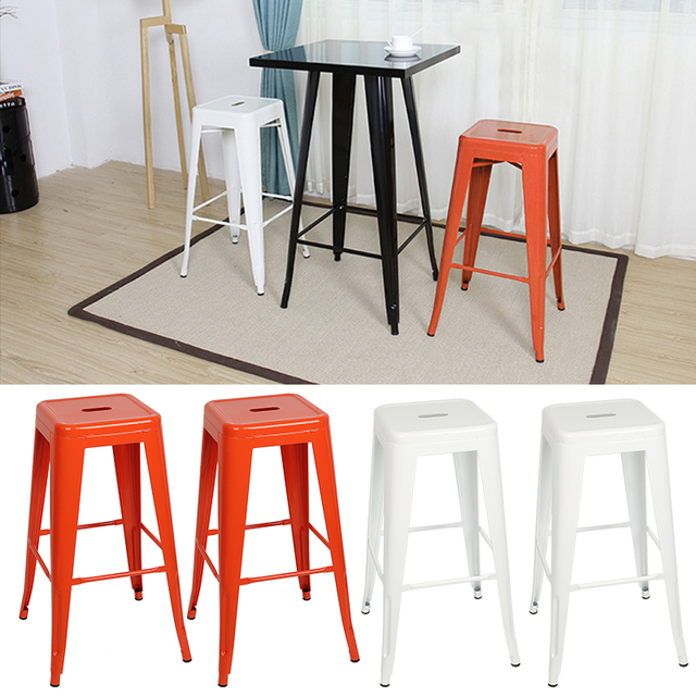 2Pcs/Set 3 Colors Stackable Bar Chair Modern Minimalist Home Bar Chair Industrial Style High Stool Nordic Backrest Furniture HWC