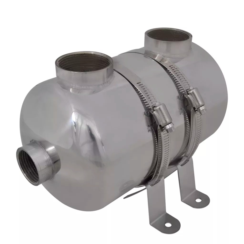 Vidaxl Pool Heat Exchanger 292 X 134 Mm 28 KW Stainless Steel Material Corrosion-Resistant And Durable Pool Heat Exchanger
