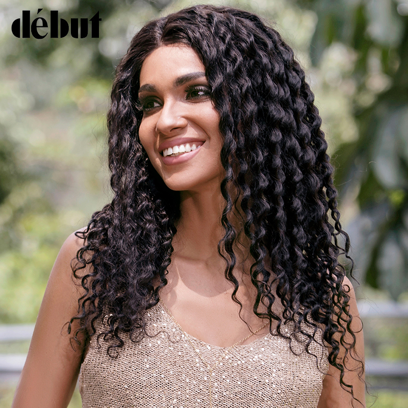 Debut Lace Front Human Hair Wigs For Women Curly Human Hair Wig Deep Wave Wig 100% Remy Indian Hair Wigs 13X4 Lace Front Wigs