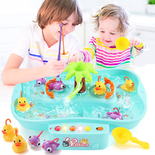 Kids House Play Game Fishing Toys Set With Sound And Light Electricwater Cycle Fishing Game Funny Classic Toys For Children Gift