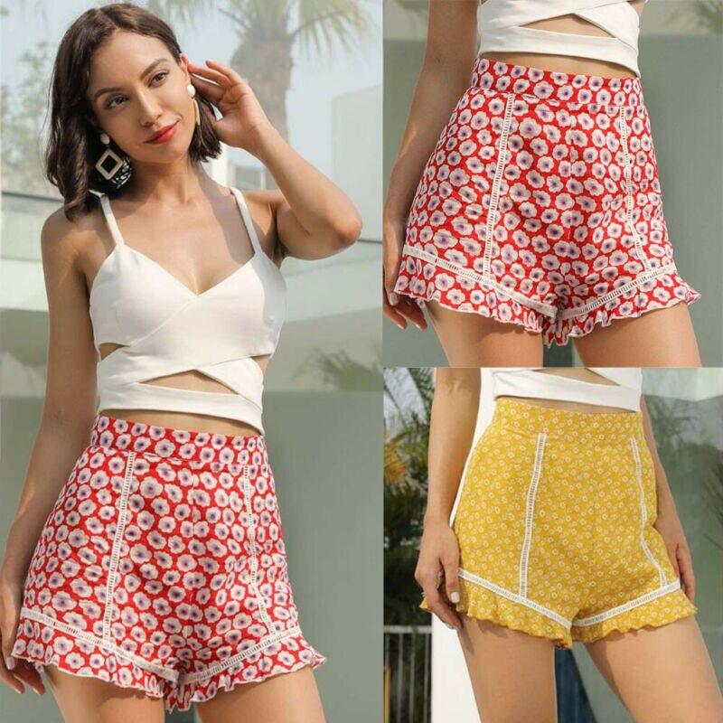 2019 New Floral Print Women Stylish Shorts Ruffle Casual Slim High Waist Shorts Holiday Print Shorts Fashion Hot