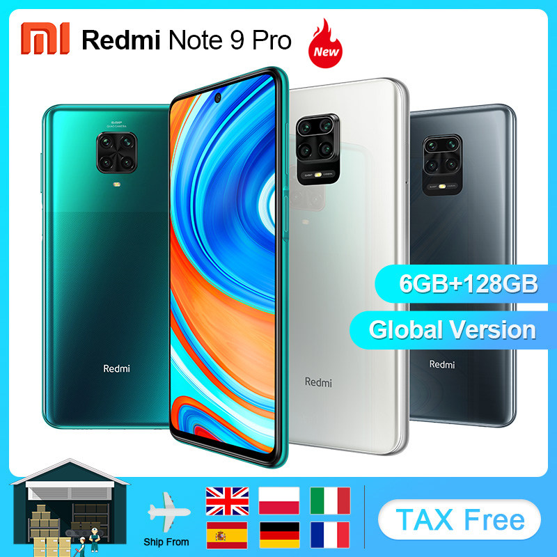 Global Version Xiaomi Redmi Note 9 Pro 6GB 64GB 128GB NFC Smartphone Android Snapdragon 720G Mobile Phone 5020mAh Cell Phone