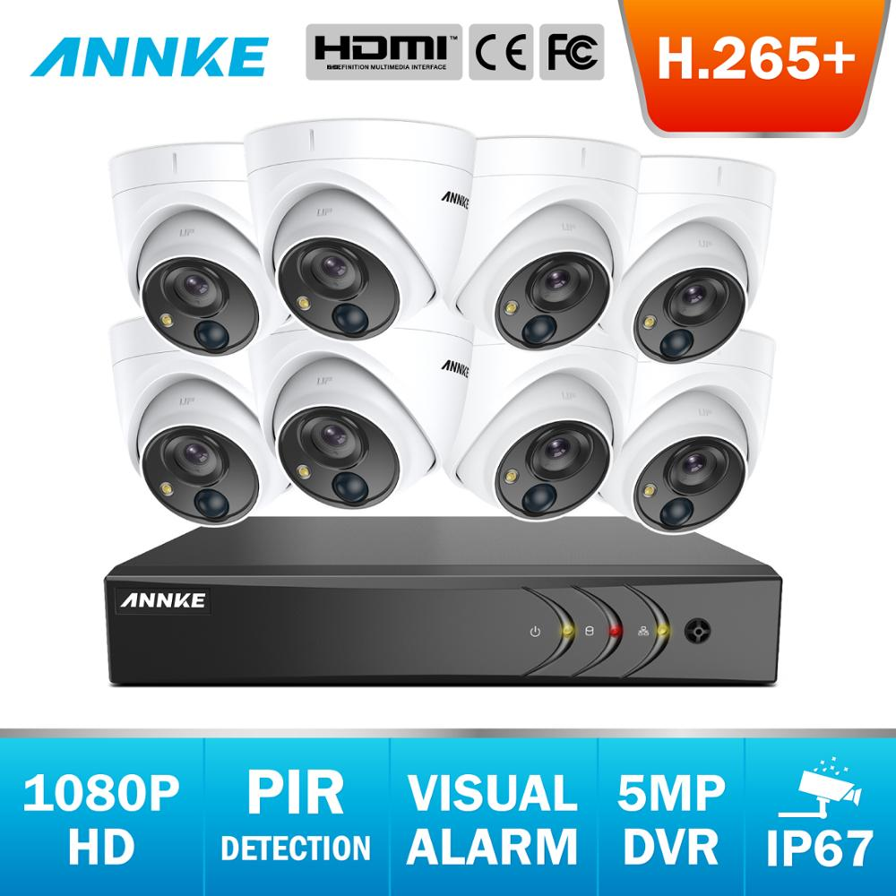 ANNKE 8CH FHD 1080P Video Security System 5MP Lite H.265+ DVR With 4X 8X Outdoor Waterproof Dome Cameras PIR Detection CCTV Kit