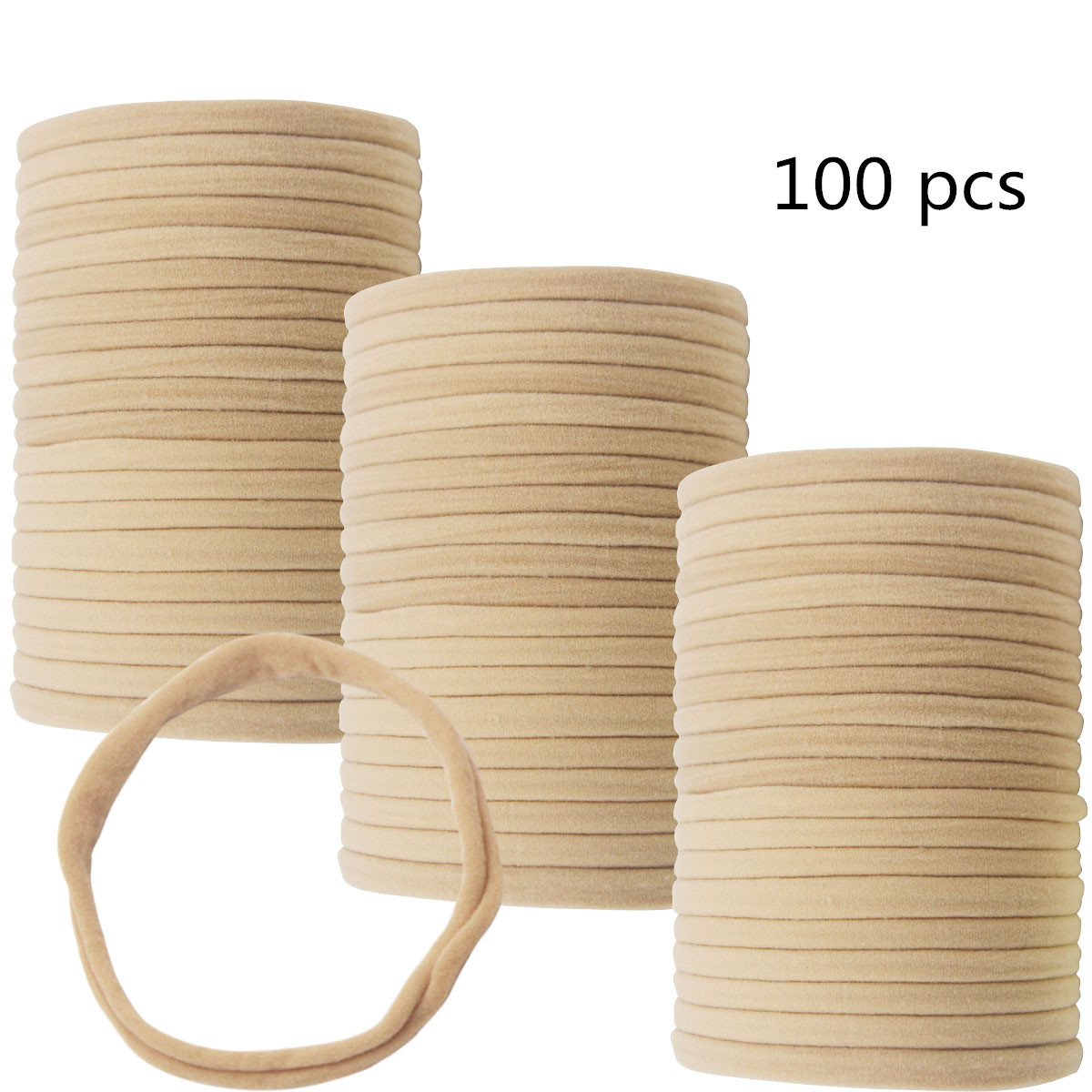 100Pcs Premium Quality Nylon Nude Headbands - Soft And Stretchy For Newborns, Baby And Toddlers Perfect For DIY