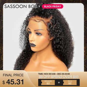Sassoon Bob 13*4 Kinky Curly Lace Front Human Hair Wigs For Women Glueless Indian Remy Hair Wig Pre Plucked Bleached Knots - Category 🛒 Hair Extensions & Wigs