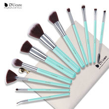 DUcare 11PCS Makeup Brushes Set Professional Light Green Handle Make Up Brush Powder Foundation Angled Eyeliner with Bag