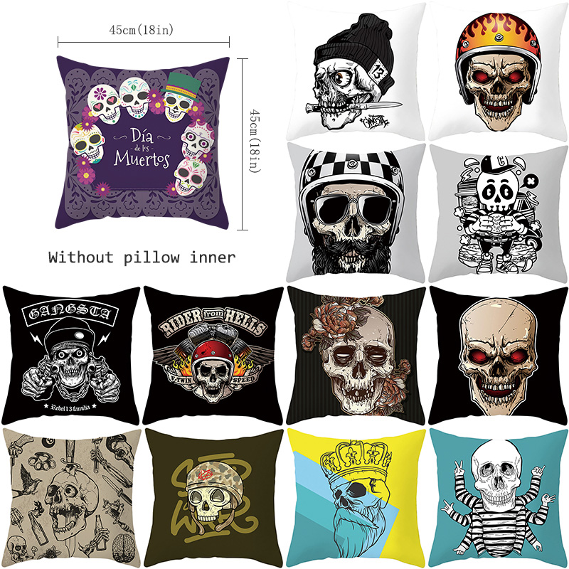 Creative Skull Printing Cushion Cover Fashion Skull Polyester Decorative Pillowcase Skull Throw Pillow Case Cover kussensloop