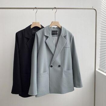 Automne couleur unie élégant bleu Blazer femmes veste femmes Style coréen lâche col en v à manches longues Cardigan 1