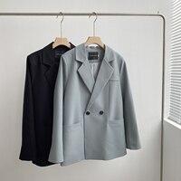 Chaqueta azul elegante para mujer, chaqueta holgada de estilo coreano con cuello en V y manga larga para otoño