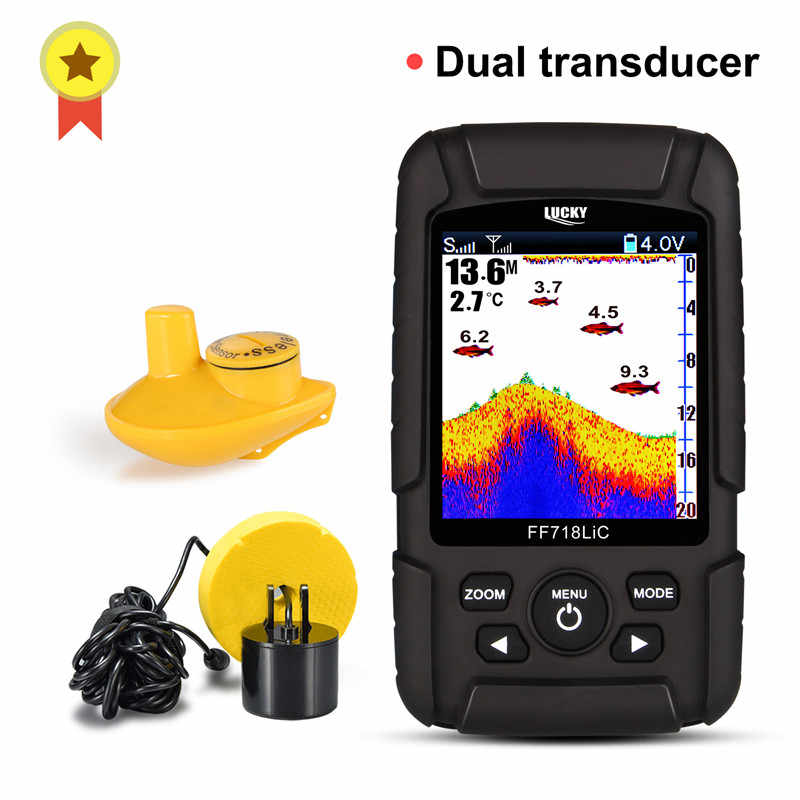 Menu russo! Fortunato FF718LiC Reale Impermeabile Fish Finder Monitor 2-in-1 Wireless Sonar Cablato Trasduttore ecoscandaglio