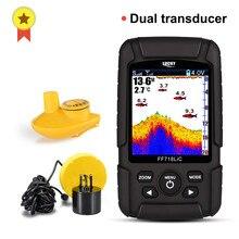 Lucky FF718LiC Monitor localizador de peces a prueba de agua, Sónar inalámbrico 2 en 1, transductor con cable, ecosounder, menú ruso