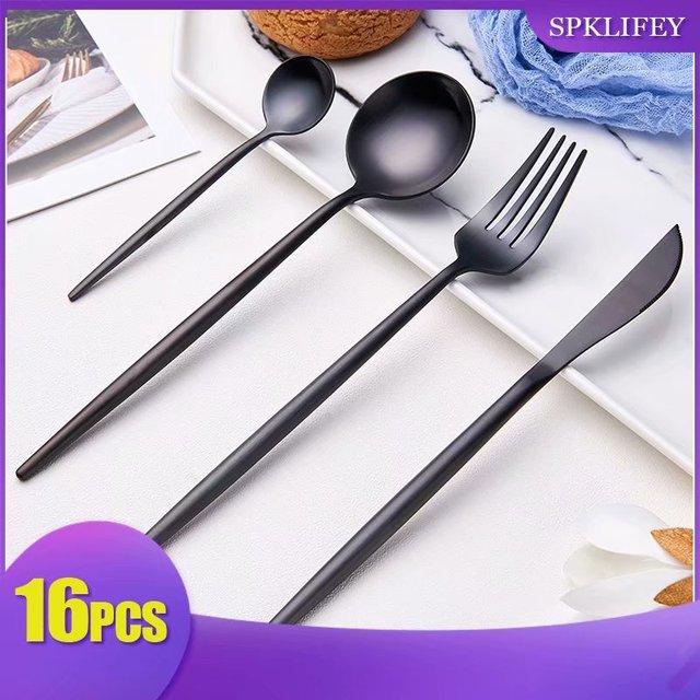 Spklifey Cutlery Set 16Pcs  Black Stainless Steel Knife and Creative Color Western Steak Fork and Spoon Christmas Tableware Set