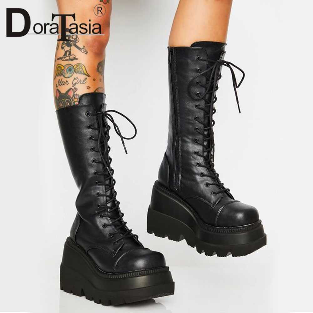 DORATASIA Big Size 35 43 Brand Design Ladies High Platform Boots Fashion Zip High Heels Boots Women 2020 Wedges Shoes Woman