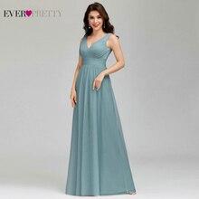 Eleganckie zakurzone niebieskie sukienki dla druhen Ever Pretty EP00925DB A Line dekolt w serek tiul Sexy suknie ślubne dla gości Sukienka Wesele 2020