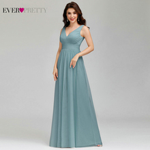 Elegant Dusty Blue Bridesmaid Dresses Ever Pretty EP00925DB A Line V Neck Tulle Sexy Wedding Guest Dresses Sukienka Wesele 2020