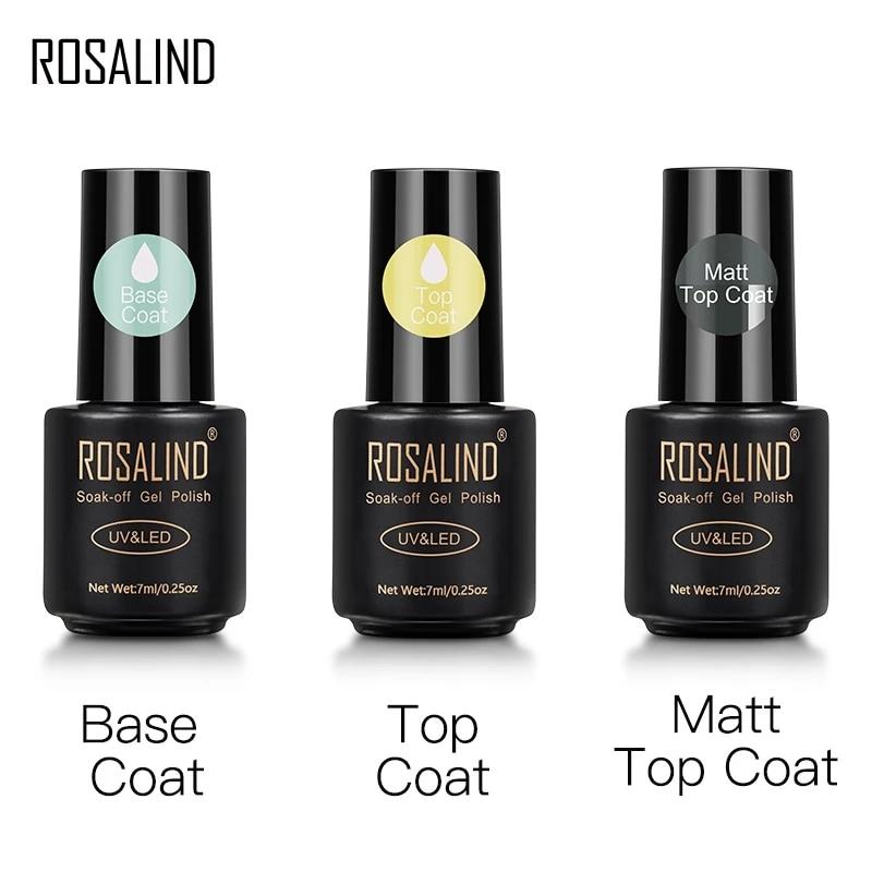 Розалинд верхней и нижней пальто Гель-лак, Длительное Действие, усиливает 7 мл гибридные Лаки Маникюр УФ Гель-лак для ногтей праймер для ногт...