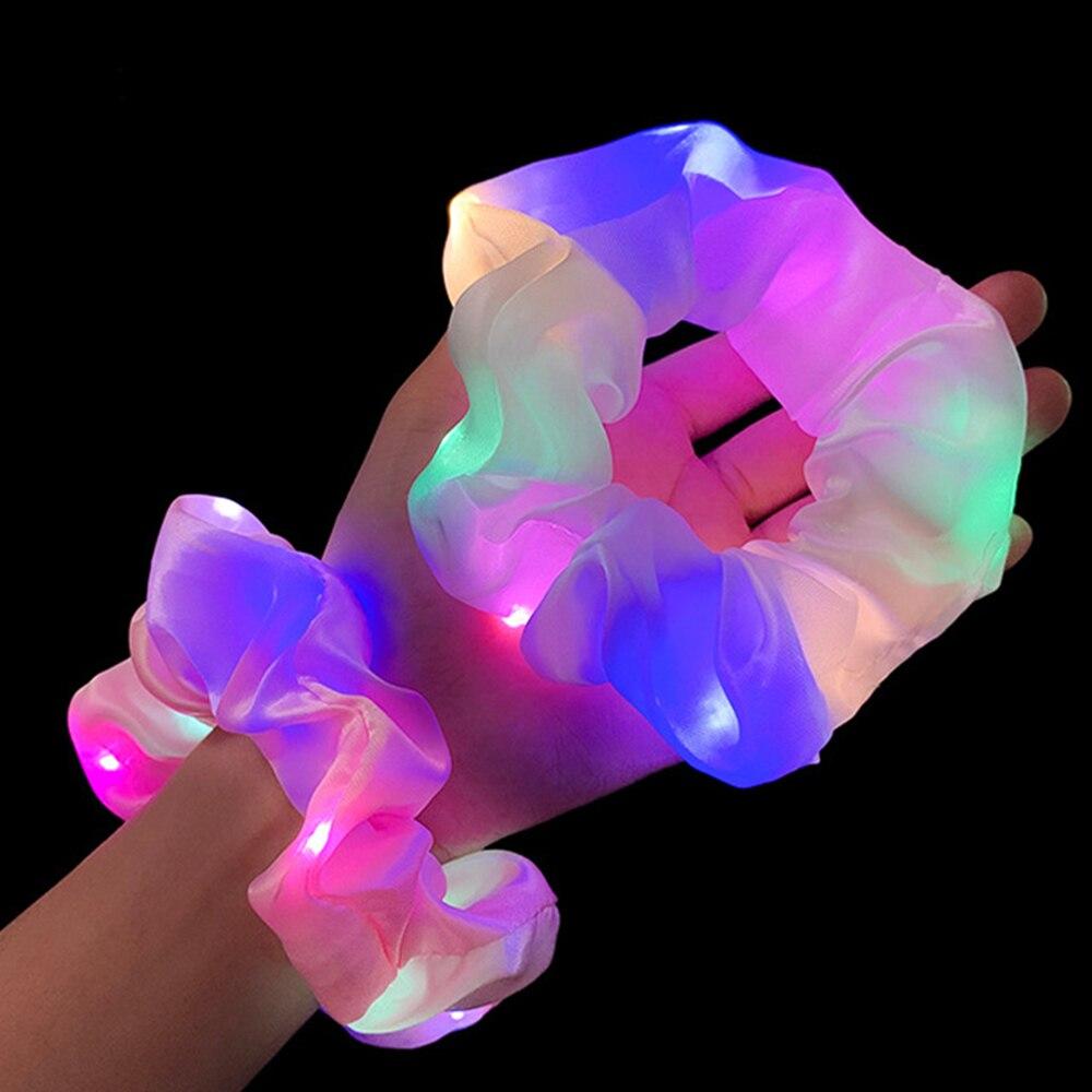 Светящиеся резинки для волос со светодиодной подсветкой для девочек, повязка на голову для конского хвоста, головной убор, эластичные резин...