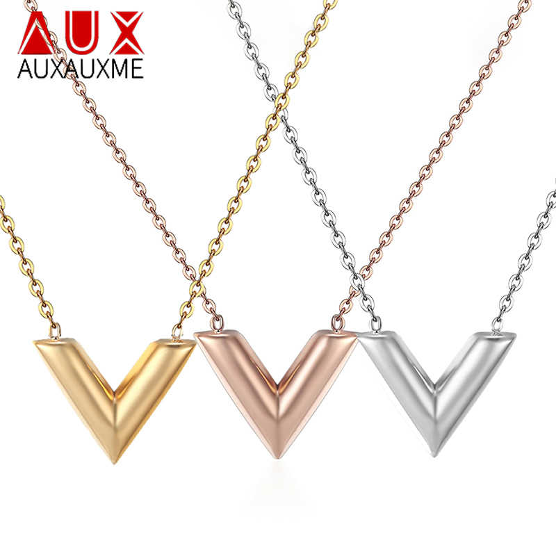 Auxauxme V Letter Pendant Necklace For Woman Stainless Steel Intial Name Clavicular Chain Necklace Girlfriend Gif Jewelry