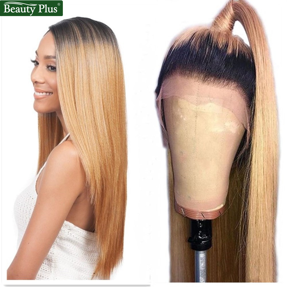 Color Lace Front Human Hair Wigs Honey Blonde Preplucked 150% Lace Frontal Wig Remy Hair Straight 1B 27 Brazilian Human Hair Wig