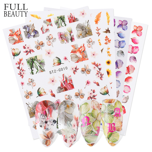 Newest Real Flower Nail Art Stickers 3D Adhesive Decals Leaf Butterfly Maple Nail Design Colorful Decoration Wraps CHSTZ-C01-11