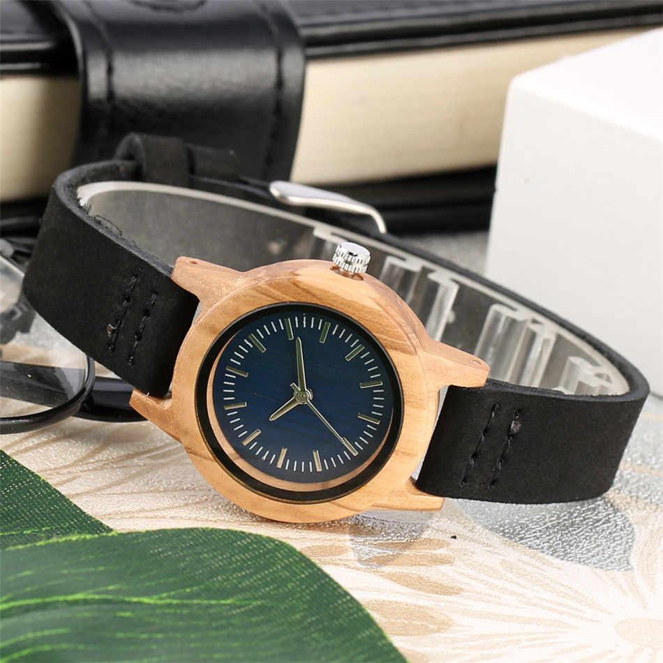 REDFIRE الإبداعية الخشب الخالص ساعة نسائية جلد طبيعي أسود ساعة اليد السيدات ساعة خشبية الحد الأدنى ساعة مستديرة reloj