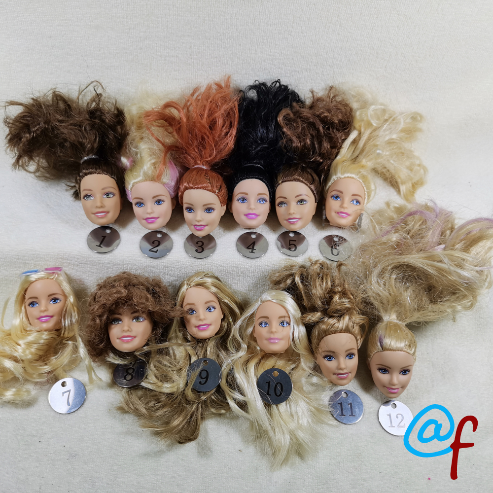 B20-11 Original Foreign Trade European Beauty1/6 OOAK NUDE Doll Head Mussed Hair For DIY Soft PVC Head With Fitting  90%NEW
