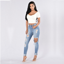 Ripped High Waist Jeans Woman Button Pockets Hole Sexy Pencil Pants Casual Jeans for Women Clubwear Plus Size Distressed Jeans цена в Москве и Питере
