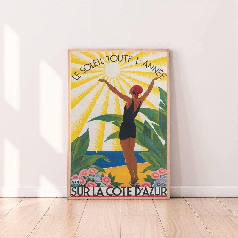 Affiche de voyage Vintage impression Sur La côte dazur peinture Sur toile Art mural coloré Broders maison décoration murale