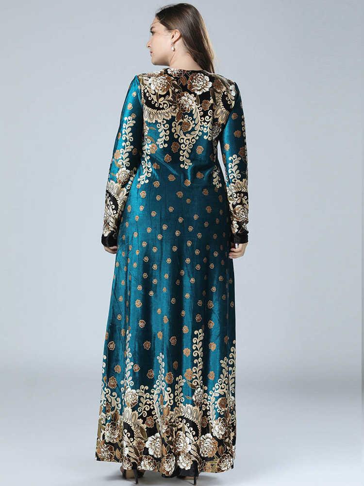נשים חורף ארוך שמלה בתוספת גודל Loose הערבית חתונה שמלות זהב קטיפה גדול גודל ליידי חדש שנה מסיבת שמלת אמא מקרית שמלת 4XL
