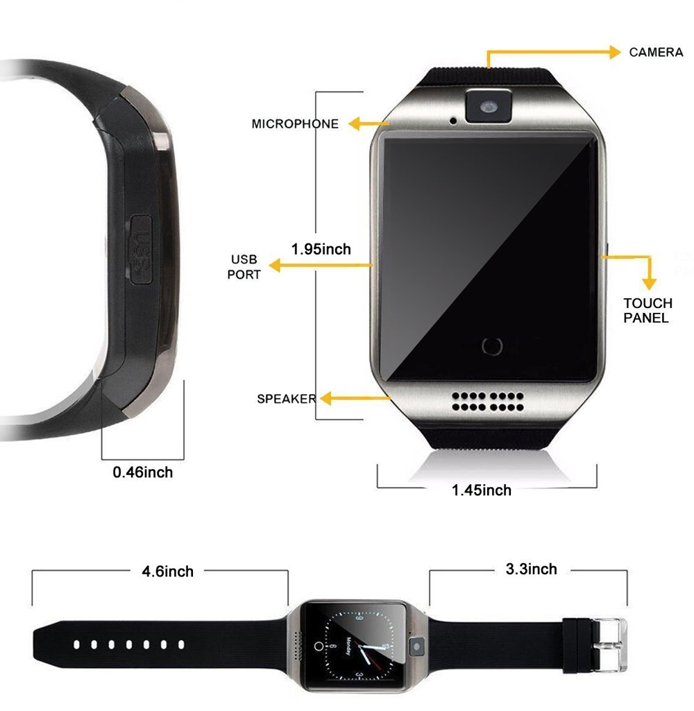 Sport watch smart camera, compatible with SIM card TF for IOS Android Screen