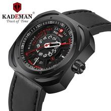 KADEMAN New Mens Watches Top Luxury Brand Men Military Sport Wristwatch Leather Strap Quartz Date Week Display Waterproof  Watch цена 2017
