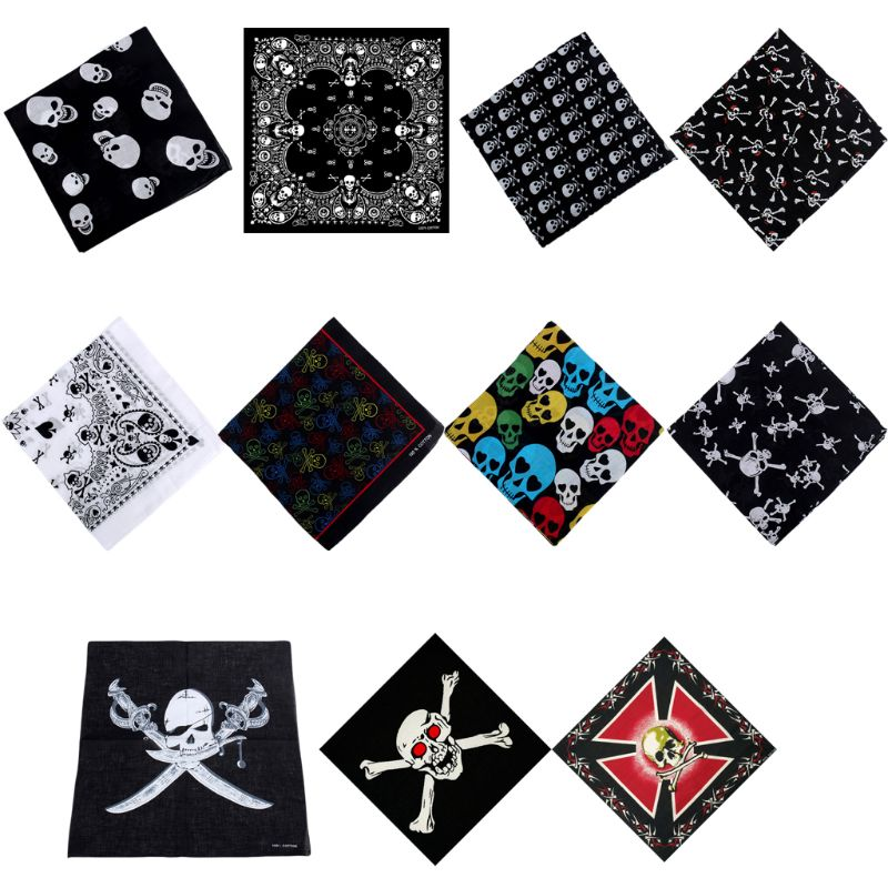 54x54cm Unisex Head Scarf Skull Theme Cotton Fabric Bandanas Graphic Print Gothic Scarf Sport Hip-Hop Wristband Hair Wrap
