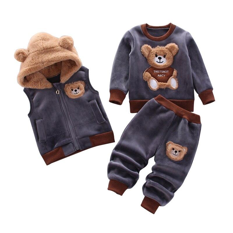 Одежда для маленьких мальчиков осенне зимний плотный теплый Повседневный свитер с капюшоном из чистого хлопка костюм из трех предметов с милым медведем для маленьких девочек|Комплекты одежды|   | АлиЭкспресс