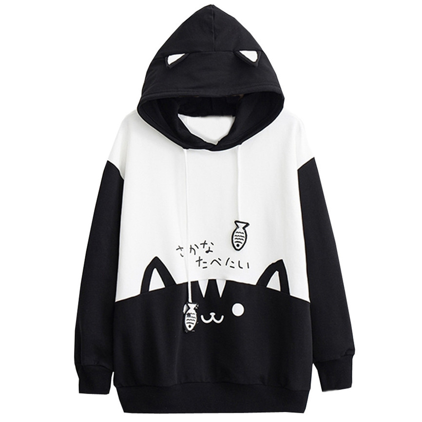 Kpop Women Oversize Outwear Womens Casual Long Sleeve Kitty Cat Print Pocket Thin Hoodie Blouse Top Innrech Market.com
