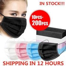 10/50/100/200 pces máscara descartável earloop rosa bule preto branco máscaras de boca 3 camadas meltblown não-tecido respirável máscara facial