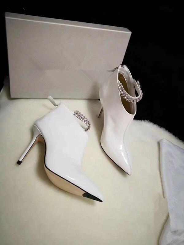 Г. Новые женские ботинки на Высоком толстом каблуке женские ботинки на шпильке с острым носком - Цвет: Бежевый