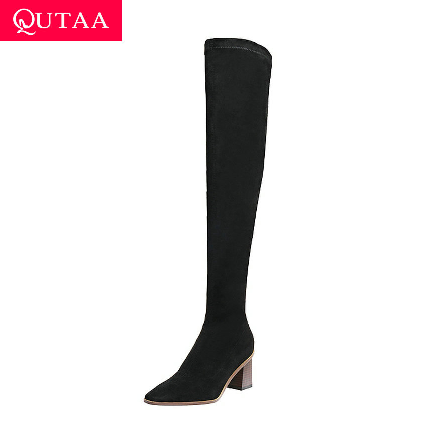 QUTAA 2021 Flock Stretch Over The Knee Boots Winter Square High Heel Women Shoes Pointed Toe Fashion Long Boots Big Size 34-43