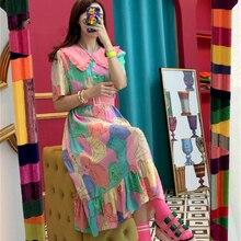 Korean geometric printed women dress Elegant peter pan collar sweet ladies party dressss Fashion pink dress peter pan collar smock dress