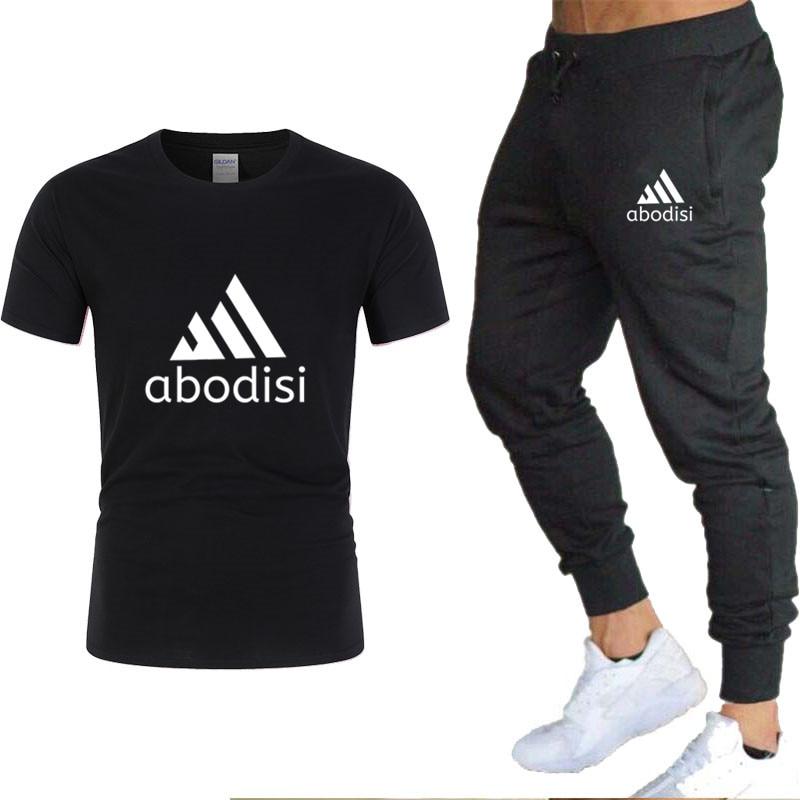 Sportsuits Set Men 2019 Brand Fitness Suits Summer Men's T-shirt  Set Mens O-Neck Fashion 2 Pieces T-shirt Trousers Tracksuit