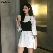 Zestawy dla kobiet biały luźny prosty długi Tees seksowna kokardka solidna Camis dziewczyny stylowa odzież uliczna moda koreański styl Casual Ulzzang nowość