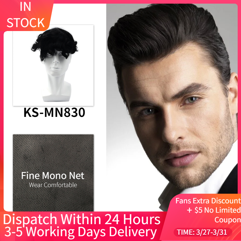 MW Mens Hair Wig Toupee PU Around + MONO Net Durable Remy Human Hair Pieces 6inches 150% Density Topper Wigs For Men Replacement