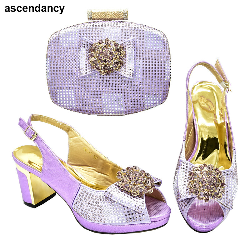 Latest Design Italian Shoes with Matching Bags African Shoes and Bags Matching Set Decorated with Rhinestone High Heel Shoes thumbnail