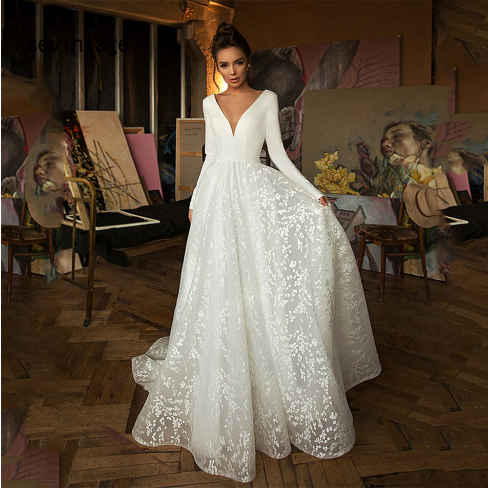 Deep V Neck Bride Gowns Long Sleeves White Stain Lace Tulle Wedding Dresses Backless Buttons Bridal Dress Vestido De Novia