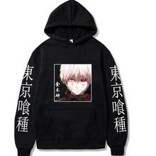 Anime tóquio ghoul pullovers topos mangas compridas com capuz masculino pano