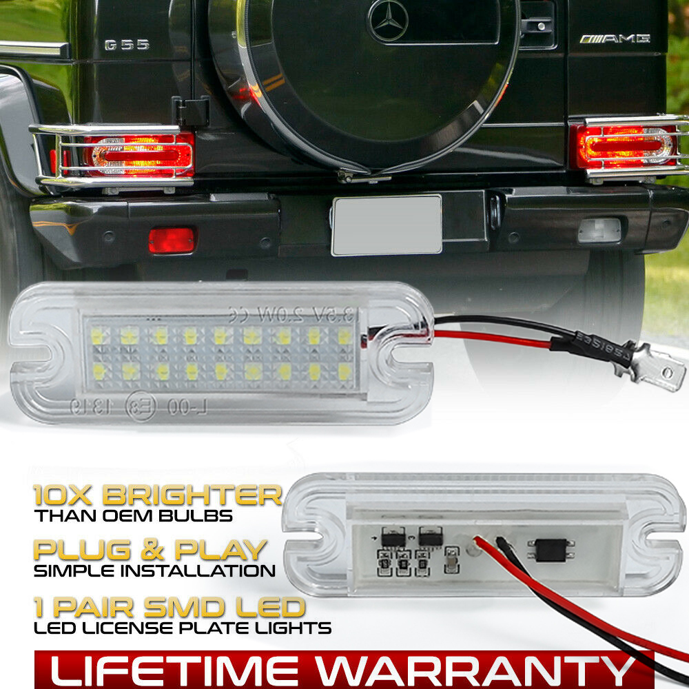 2Pcs LED License Plate Lights For Mercedes Benz G-Class W463 G500 <font><b>G55</b></font> G63 G65 <font><b>AMG</b></font> 1986-2019 12V Number Plate Lamp image