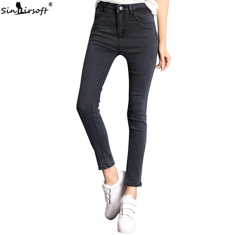 2019 Large Size Casual Skinny Pencil Pants Female High Waist Trend Wild Self-cultivation Stretch Full Length Ladies Jeans Woman
