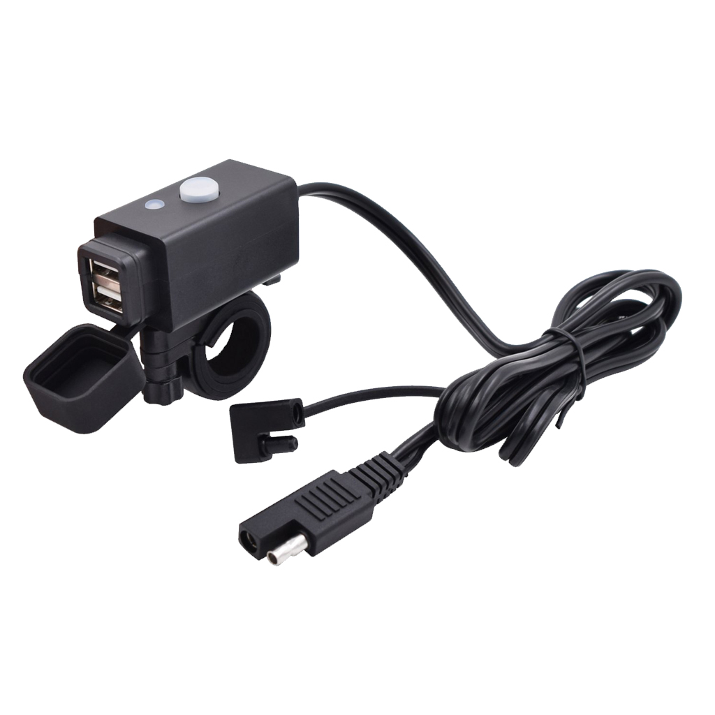 1 Set 3.1A Motorcycle Dual USB Port Charger Socket With SAE Quick Connector For Yamaha Honda Suzuki Etc